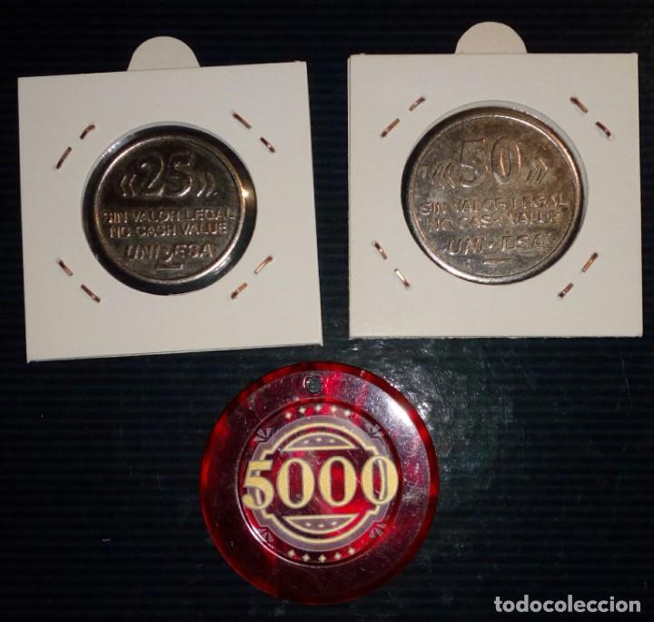 Monedas locales: LOTE DE 3 FICHAS DE JUEGO UNIDESA - CIRSA - Foto 2 - 211672106