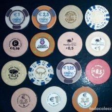 Monedas locales: LOTE DE 15 FICHAS DE CASINOS DE ESPAÑA. Lote 211673349