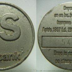 Monedas locales: FICHA DE SOLBANK PARA DEPOSITAR EN BUZON DE CORREOS Nº 54114. Lote 211886973