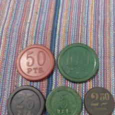 Monedas locales: LOTE DE CINCO ANTIGUAS FICHAS DE CASINO. VALORES 2'50,5,25,50 Y 100. CUATRO REVERSO FLOR.. Lote 213376338