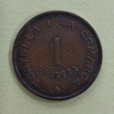Monedas locales: FICHA/MONEDA 1 PTA. SINDICAT AGRICOL TORTELLA I LA SA COMARCA.GUERRA CIVIL GIRONA 1937. Lote 216488803