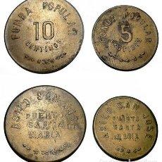 Monedas locales: 037.JUEGO MONEDA - FICHA DOS VALORES (FONDA POPULAR SAN JOSE) PTO. SANTA MARIA. Lote 217871268