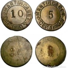 Monedas locales: 038.LOTE 2 MONEDA - FICHA (SALAZONES JUAN MARTIN CABET) ISLA CRISTINA - HUELVA. Lote 217871350