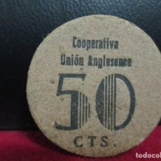 Moedas locais: 50 CENTIMOS COPERATIVA UNION ANGLESENSE. Lote 218039956
