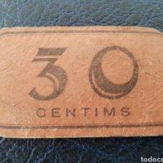 Monedas locales: BILLETE CARTON INDUSTRIA GASTRONOMICA COLECTIVITZADA SABADELL 30 CENTIMS. Lote 218864410