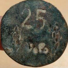 Monedas locales: FICHA DE LA UNIÓN PANADERA - GUERRA CIVIL - 25 CTS - ZONA SEGARRA. Lote 221096857