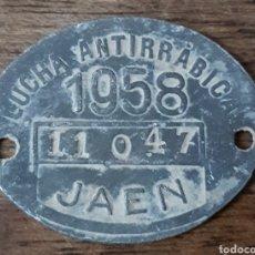 Monedas locales: PLACA FICHA LUCHA ANTIRRABICA JAEN 1958. Lote 221507778