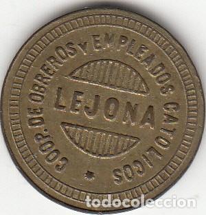 FICHA: 5 PESETAS LEJONA ( VIZCAYA ) - COOP. DE OBREROS Y EMPLEADOS CATOLICOS (Numismática - España Modernas y Contemporáneas - Locales y Fichas Dinerarias y Comerciales)
