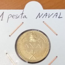 Monedas locales: 1 PESETA NAVAL, 1945 CÁDIZ. EBC Y ENCARTONADA. Lote 221710338