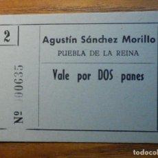Monedas locales: VALE POR DOS PANES - VALE DE PAN - PANADERIA AGUSTIN SANCHEZ MORILLO - PUEBLA DE LA REINA - BADAJOZ. Lote 222362542