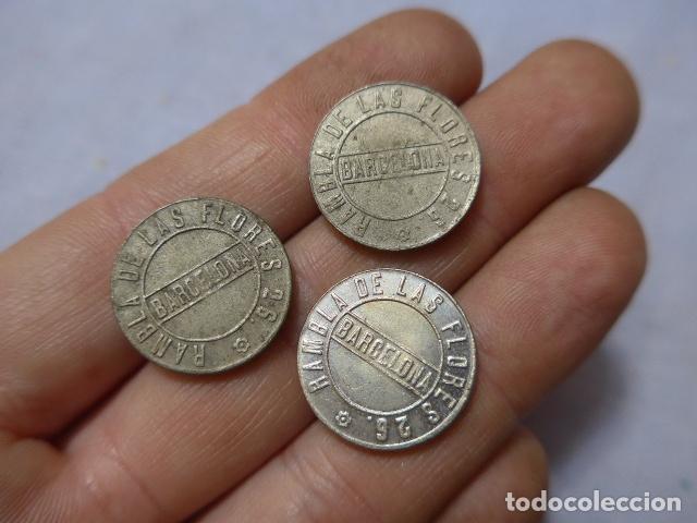 Monedas locales: * Lote 3 antigua moneda o ficha del salon de audiciones de barcelona, rambla de les flors. ZX - Foto 2 - 223846075