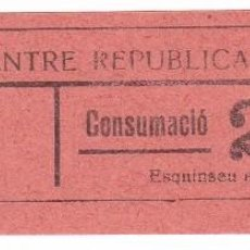 Monedas locales: VALE DEL CENTRE REPUBLICA DE BRAFIM DE 25 CENTIMOS PARA CONSUMACIO. Lote 224423355