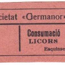 Monedas locales: VALE DE LA SOCIETAT GERMANOR DE BONASTRE DE 25 CENTIMOS PARA CONSUMACIO DE LICORS. Lote 224426160