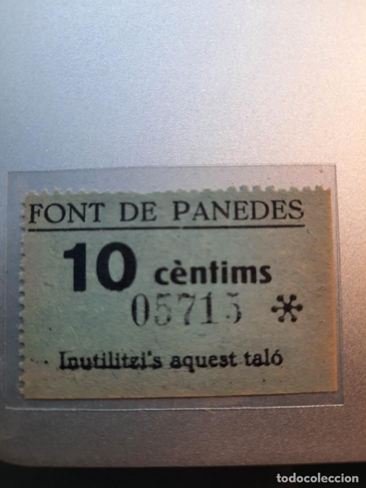 FONT DE PANEDES. GIRONA. 10 CTS. ALLEPUZ-1 (Numismática - España Modernas y Contemporáneas - Locales y Fichas Dinerarias y Comerciales)