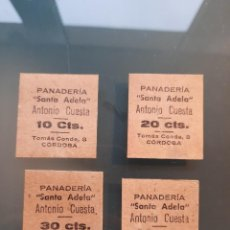 Monedas locales: PANADERIA SANTA ADELA 10 CTS, 20 CTS, 30 CTS Y 40 CTS. CORDOBA. Lote 224744385