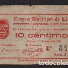 Monedas locales: LECERA-ZARAGOZA- CONSEJO MUNICIPAL- COLECTIVIDAD LIBRE- 10 CTS, 1º JUNIO 1937,-VER FOTOS. Lote 225055925