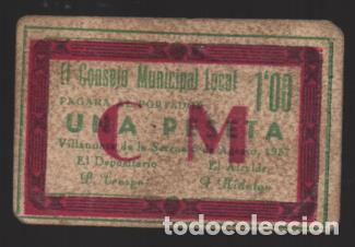 VILLANUEVA DE LA SERENA-BADAJOZ- 1 PTA, VARIEDAD:- C.M. Y RECUADRO EN ROJO- VER FOTOS (Numismática - España Modernas y Contemporáneas - Locales y Fichas Dinerarias y Comerciales)