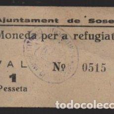 Monedas locales: SOSES- LERIDA- 1 PTA. -MONEDA PER A REFUGIATS- CON Nº Y SELLADO EN REVERSO- VER FOTOS. Lote 225057495