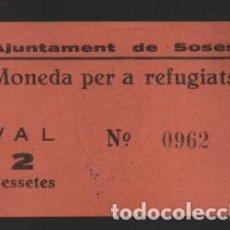 Monedas locales: SOSES- LERIDA- 2 PTA. -MONEDA PER A REFUGIATS- CON Nº Y SELLADO EN REVERSO- VER FOTOS. Lote 225057675