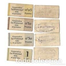 Monedas locales: COOPERATIVA LA FRATERNAL **VILASSAR DE DALT - COLECION COMPLETA DE VALORES. Lote 225986652