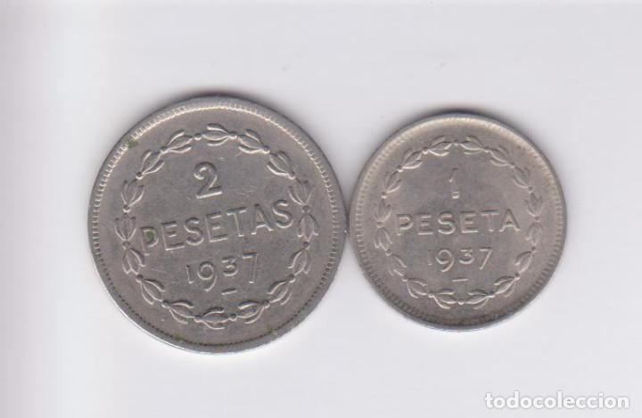 Monedas locales: MONEDAS GUERRA CIVIL - EUZKADI - SERIE DE 1 Y 2 PESETAS 1937 - PG-208-9 - (MBC) - Foto 2 - 226107575
