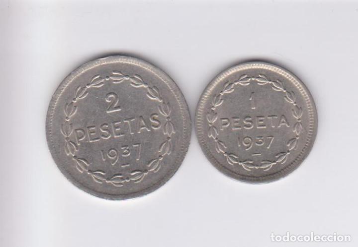 Monedas locales: MONEDAS GUERRA CIVIL - EUZKADI - SERIE DE 1 Y 2 PESETAS 1937 - PG-208-9 - (MBC) - Foto 2 - 226109110