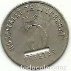 Monedas locales: (FCP-9)FICHA 5 PESETAS COOPERATIVA EL RESPETO MUTUO - HOSPITALET DE LLOBREGAT (VARIANTE). Lote 226403955
