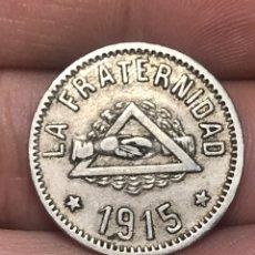 Monedas locales: FICHA 1 PESETA 1915 COOPERATIVA LA FRATERNIDAD BARCELONETA. Lote 228872825