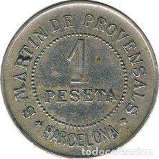 Monedas locales: ESPAÑA. COOPERATIVA PAZ Y JUSTICIA (BARCELONA). 1 PESETA. 1.907. Lote 229028680