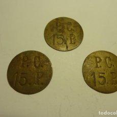 Monedas locales: 3 FICHAS INICIALES P.C. 5 P. LATON SIN IDENTIFICAR. Lote 229422755
