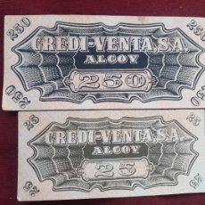 Monedas locales: ALCOY. 2 VALES. CREDI-VENTA. CREDIVENTA ONTENIENTE. Lote 289558678