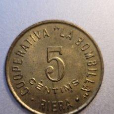 Monedas locales: COOPERATIVA LA BOMBILLA. RIERA. RIERA DE GAIA-TARRAGONA. 5 CTS. GUERRA CIVIL. Lote 232786400