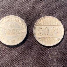 Monedas locales: L'ATMELLA DEL VALLES 50CTS 2 MODELOS. Lote 234044420