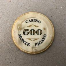 Monedas locales: FICHA DEL CASINO MONTE PICAYO DE VALENCIA, VALOR FACIAL DE 500 PESETAS. Lote 235471030