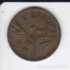 Monedas locales: FICHA DE 5 CENTIMOS DE LA COOPERATIVA OBRERA GERMANOR CALELLENCA (CALELLA). Lote 236010755