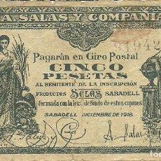 Monedas locales: (F-210100)BILLETE DE CINCO PESETAS A. SALAS Y COMPAÑIA SABADELL. DICIEMBRE 1918. REVERSO BLANCO. Lote 236384050