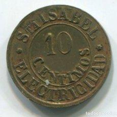 Monedas locales: FICHA, JETON DE 10 CENTIMOS DE SANTA ISABEL ELECTRICIDAD. 17 MM DE DIÁMETRO. Lote 236794520