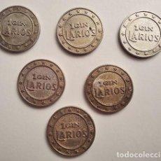 Monedas locales: LOTE DE SEIS FICHAS AUTÉNTICAS 1 GIN LARIOS - AÑOS 80. MÁLAGA. Lote 238378095