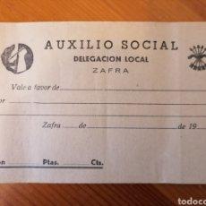 Monedas locales: ZAFRA. BADAJOZ. AUXILIO SOCIAL. DELEGACIÓN LOCAL. VALE SIN USO.. Lote 243071595