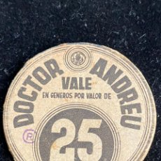 Monedas locales: DOCTOR ANDREU 25 CTS. Lote 244692275