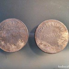 Monedas locales: COOPERATIVA CASA DEL POBLE TORELLO.GUERRA CIVIL . 5 PESETAS. UNA CON CONTRAMARCA NUMERO 5. Lote 244900225
