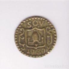 Monedas locales: MONEDA CATALANA LOCAL - PELLOFA (6 SOV)1737 - SANT SEVER-BARCELONA - CR-1298 (MBC+). Lote 245158050