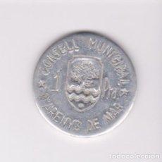 Monedas locales: MONEDAS GUERRA CIVIL - ARENYS DE MAR-BARCELONA - 1 PTA. - PG216 (MBC). Lote 245158300