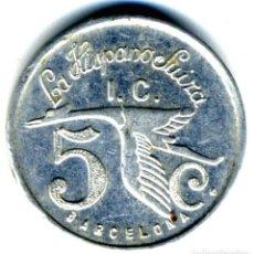 Monedas locales: XS- BARCELONA 5 CÈNTIMS LA HISPANO SUIZA INDUSTRIA COL·LECTIVITZADA 1937 GUERRA CIVIL. Lote 245726525