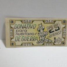Monedas locales: DONATIVO PARA HUERFANOS DE GUERRA. VALE DE 25 CENTIMOS. 1945. VER DORSO. Lote 245979925