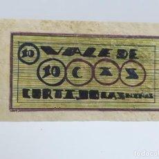 Monedas locales: VALE DE 10 CENTIMOS. CORTIJO LAS NIÑAS. ZAMORANOS DE PRIEGO. CORDOBA. 1936. VER DORSO. Lote 245987925