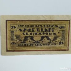 Monedas locales: CORTIJO LAS NIÑAS. VALE 15 CENTIMOS. ZAMORANOS DE PRIEGO, CORDOBA. 1936. VER DORSO. Lote 245988300
