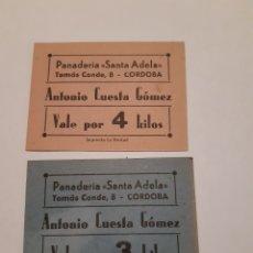 Monedas locales: VALES DE PAN PANADERÍA SANTA ADELA CÓRDOBA. GUERRA CIVIL.. Lote 246014440