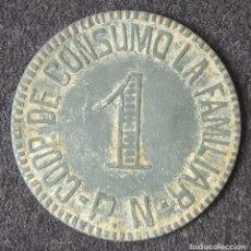 Monedas locales: FICHA MONEDA 1 PESETA.COOPERATIVA DE CONSUMO LA FAMILIAR P.N.(PUEBLO NUEVO) BARCELONA.. Lote 246016275