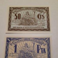 Monedas locales: BILLETES LOCALES 2 BILLETES 50 CTS Y 1 PTA CONSEJO MUNICIPAL SONSECA CON CASALGORDO GUERRA CIVIL.. Lote 246016865